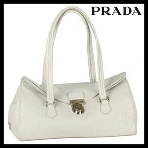 Authentic Prada Daino Bianco Leather Bag BR2375